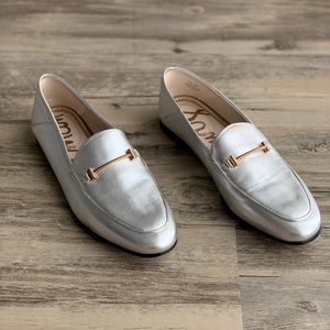 Sam Edelman Leather Bit Loraine Silver Loafers